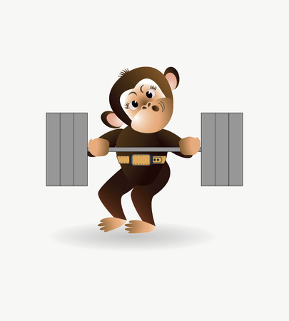 jungle gyms: On a white background cartoon monkey is engaged with the rod. Vector illustration