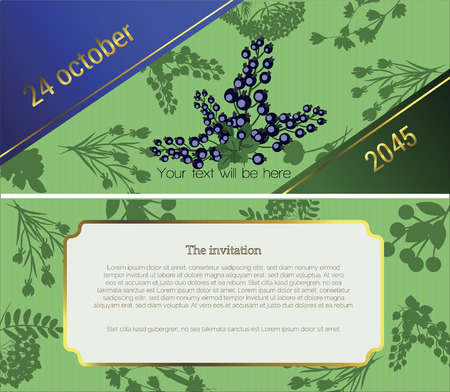 health fair: At the top of the invitation shows a sprig of black currants on a dark green background, in the lower part of the text Invitations to the fair flower festival, sell. Vector illustration