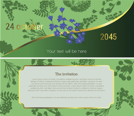 At the top of the invitation depicts chicory flower on a dark green background, in the lower part of the text of the invitation is an invitation to the flower fair, festival, sell. Vector illustration