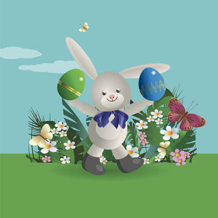 juggle: At flowering lawn under the blue sky, the Easter Bunny walks and holds in paws painted Easter eggs. Vector illustration Illustration