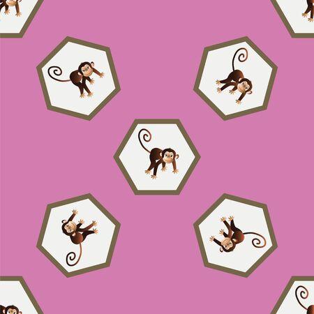 chimpances: Sobre un fondo de color rosa representa un modelo con monos alegres Vectores