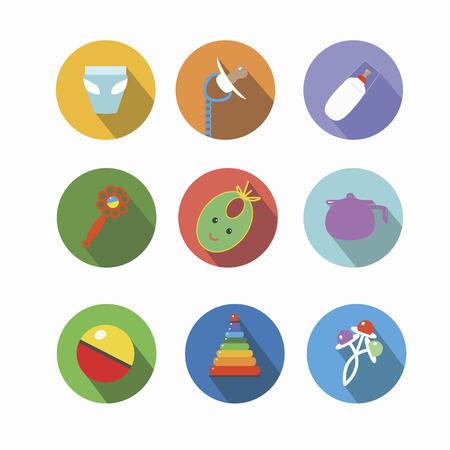 pezones: Iconos de artículos para los niños pequeños. ilustración Vectores