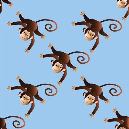chimpances: En una trama de fondo azul con monos alegres. ilustraci�n