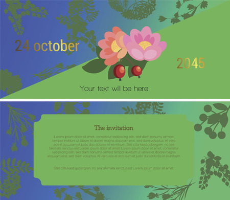dog rose: At the top of the invitation shows a dog rose flower on a dark green background, in the lower part of the text Invitations to the fair flower festival, sell. illustration