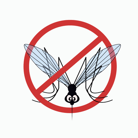 no mosquito: Anti mosquito sign with a funny cartoon mosquito.  illustration
