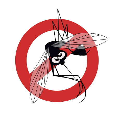 itch: Anti mosquito sign with a funny cartoon mosquito.  illustration