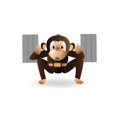 engaged: On a white background cartoon monkey is engaged with the rod. illustration