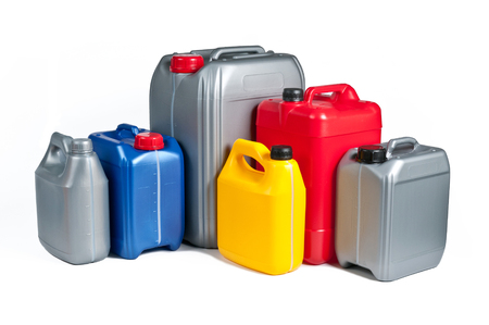 gas can: Plastic canisters for machine oil isolated on white background.