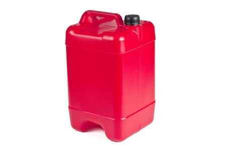 Red plastic jerrycan on white background. Banco de Imagens