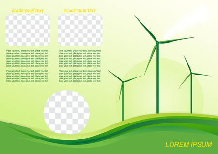 windfarm: Brochure or cover design. Wind generator, green energy.