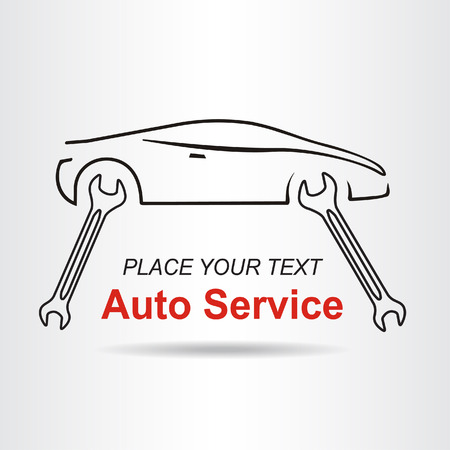Auto service sign with car silhouette and spanner