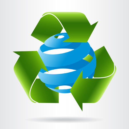Recycle arrows and abstract blue sphere. Eco concept. Illustration