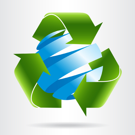 abstract recycle arrows: Recycle arrows and abstract blue sphere. Eco concept. Illustration