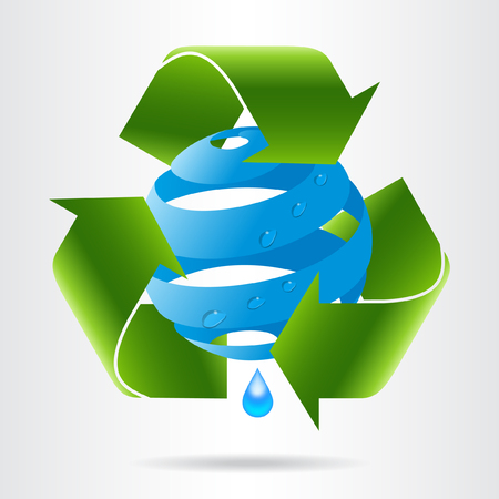 Recycle arrows and abstract blue sphere with water drops. Eco concept.