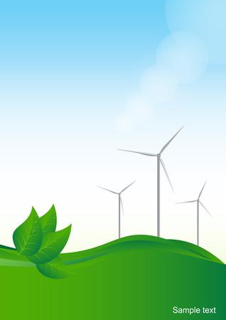 Wind generator, green energy. Vector  background. Illustration