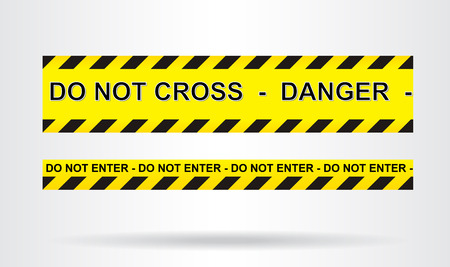 cordon: Caution, danger, and police tape attention Illustration