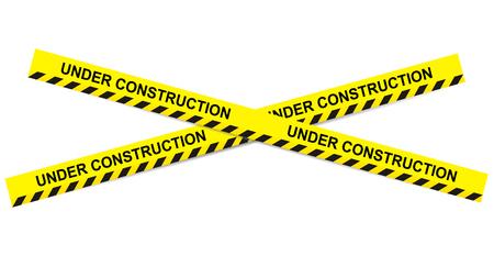 prohibido el paso: Bajo cintas de construcción