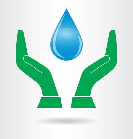 sparingly: Save water symbol. Vector icon.