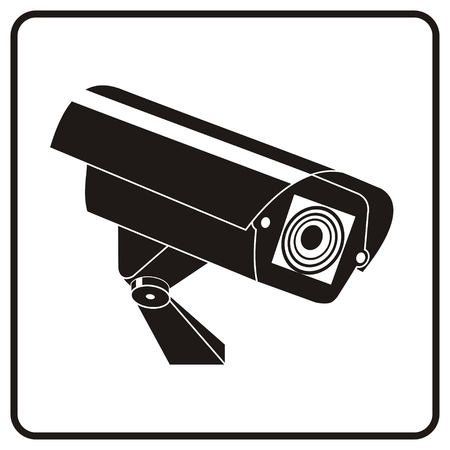 video surveillance: Video surveillance sign. CCTV Camera.