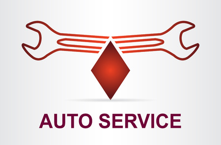 Auto service sign with car silhouette and spanner. Template for logo. Illustration
