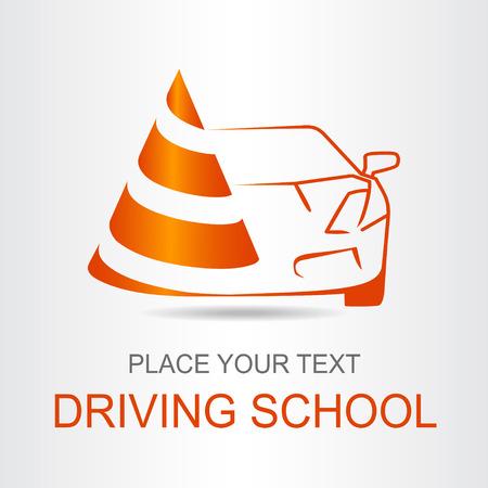 lifelike: Silhouette of the car. Logo driving school.