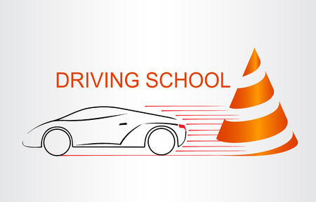 Silhouette of the car. Logo driving school.