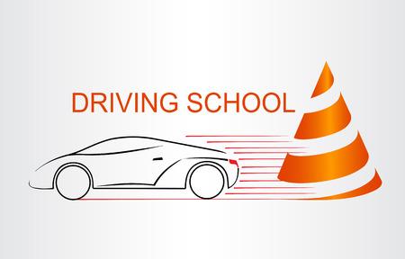 Silhouette des Autos. Logo Fahrschule.