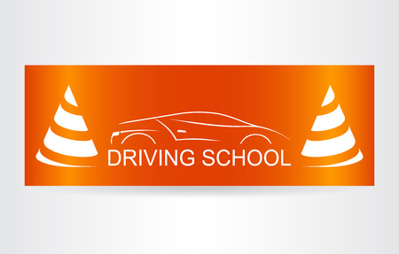 lifelike: Silhouette of the car. Logo driving school.