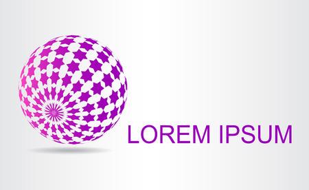 적합: Stylized spherical surface with shapes of stars. This logo is suitable for global company, world technologies and media and publicity agencies