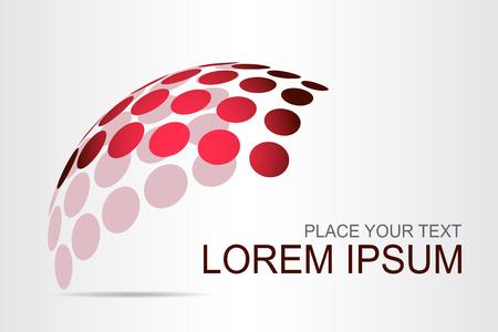 Superfície esférica estilizado do logotipo com formas abstratas. Este logotipo é adequado para empresas globais, tecnologias mundiais, agências de mídia e publicidade
