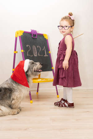 a little girl teacher in a dress and glasses wrote 2021 on the blackboard and explains to her dog that the new year is coming. A little girl scolds her dog for not listening carefully.