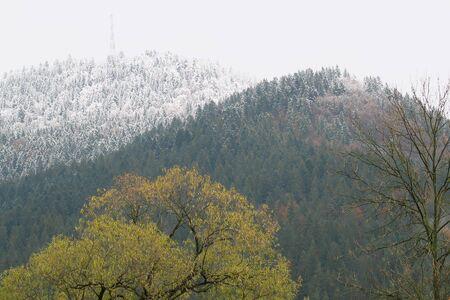 Begining winter in the ukranian Carpathian Stock Photo