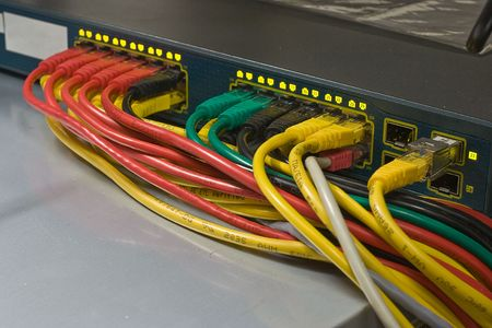 colored wires pluged to routers