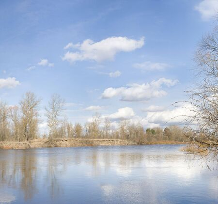 inflow: The river Snov ( inflow of the river Desna ) in the spring near to Chernigiv, Northern Ukraine. Stock Photo