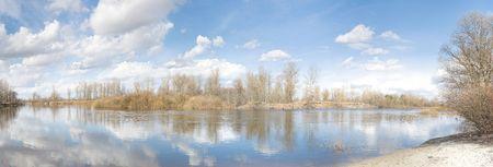 The river Snov ( inflow of the river Desna ) in the spring near to Chernigiv, Northern Ukraine. Stock Photo