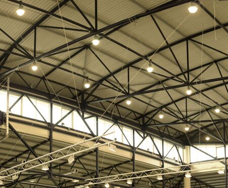 Design of ceiling and detail's light equipment of new exibition hall in Kyiv, Ukraine. Stock Photo - 2859788