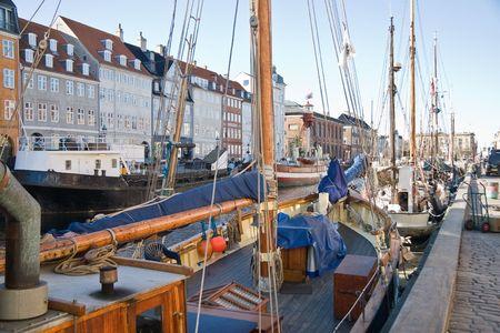 Big sailboats in the Nyhavn in Cobenhavn. Stock Photo