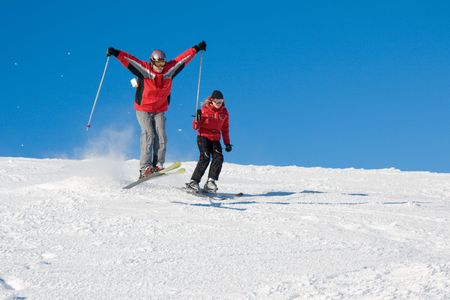 Freeriders have a fun on slope of mountain Stig