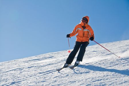Girl skiing from the top mountain Dragobrat