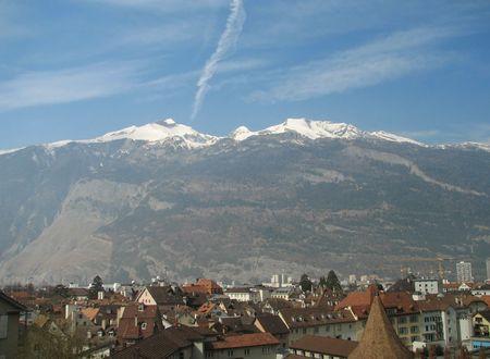 Mountan Calanda near the oldest city of Switzerland - Chur is capital city of kanton Graubunden Stock Photo