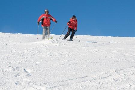 Freeriders have a fun on slope of mountain Stig in ukrainian Carpathian Stock Photo