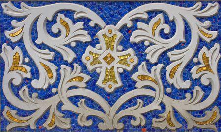 Mosaic ornament on the wall of new church in Kyiv. Artwork of Yaroslava Volnenko-Nebesna. Stock Photo