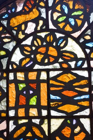 Detail of stained-glass window in top statition of kyiv's funiculer Stock Photo - 4635238