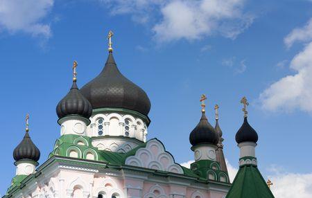 Cupolas of church of Pokrovas nunnery in Kyiv, Ukraine. 19 century. Stock Photo