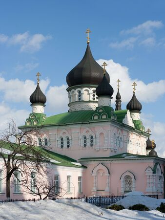 Cathedral of the Protection of the Blessed Virgin of Pokrovsky nunnery in Kyiv (builded in 1889). Stock Photo