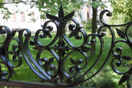 Close-up of forged lattice garden arbor Stock Photo