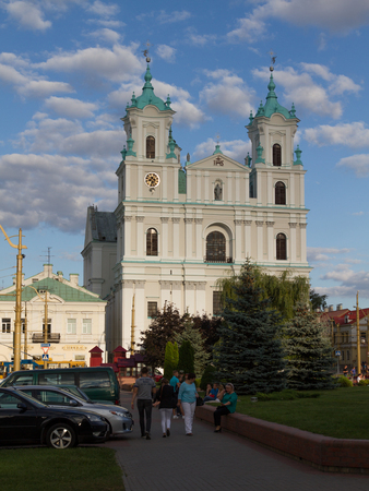 religion catolica: Old catolic cathedral on central square of Grodno (Belarus)