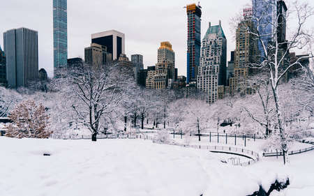 Skyline of midtown New York and Central Park after December snowfall