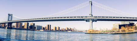 View of Manhattan Bridge from the Brooklyn Bridge Park.