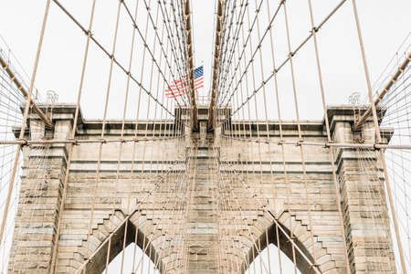 Architecture of Brooklyn bridge over east river in Brooklyn New York city NYC USA.